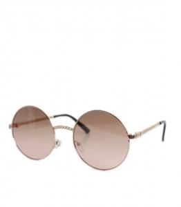 Στρόγγυλα γυαλιά ηλίου με ιδιαίτερο χρυσό σκελετό (Μπεζ)