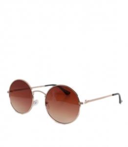 Στρόγγυλα γυαλιά ηλίου με χρυσό σκελετό και καφέ φακό