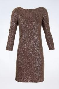 Taupe Φόρεμα με Παγιέτες / Μέγεθος: ? - Εφαρμογή: S