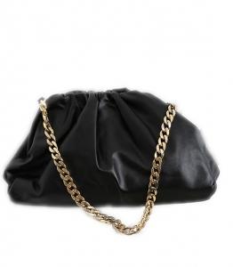 Τσάντα δερματίνη με χρυσή αλυσίδα (Μαύρο)