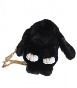 Τσάντα κουνελάκι γούνινο (Μαύρο)