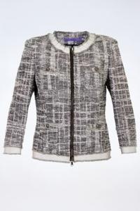 Tweed Σακάκι με Στρογγυλή Λαιμόκοψη σε Γκρι Τόνους/ Μέγεθος: 44 IT - Εφαρμογή: S