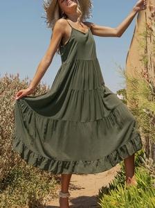 Βαμβακερό φόρεμα με δέσιμο στους ώμους SG7885.8360+2