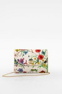 Vintage Λευκό Floral Vittorio Accomero Clutch με Αλυσίδα