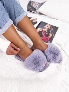 VIVIANA TOTAL GREY FUR SLIPPERS