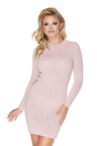 Βραδινό φόρεμα με στρογγυλή λαιμόκοψη - Ροζ