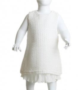 Βρεφικό φόρεμα δαντέλα αμάνικο (Λευκό)